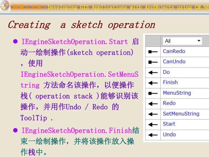 Creating  a sketch operation