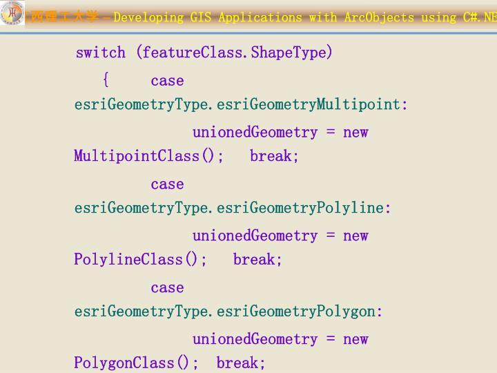 switch (featureClass.ShapeType)