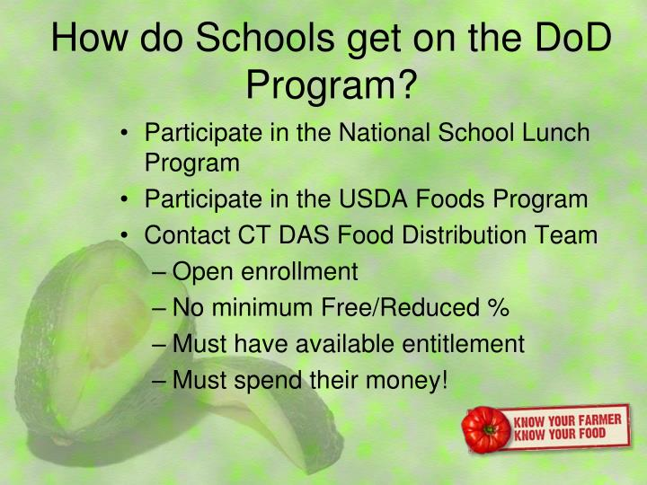 How do Schools get on the DoD Program?
