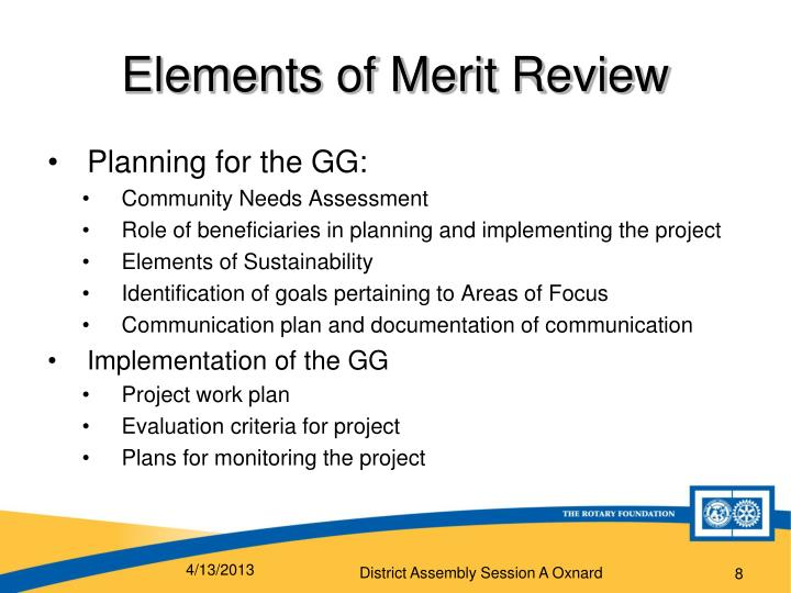 Elements of Merit Review