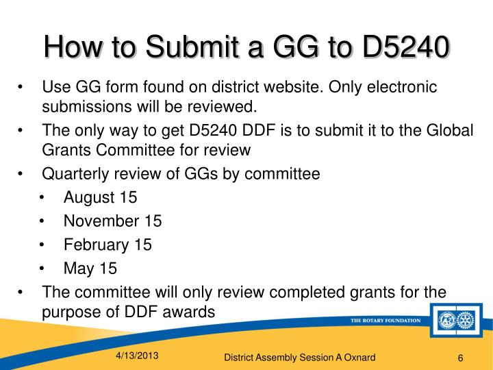 How to Submit a GG to D5240