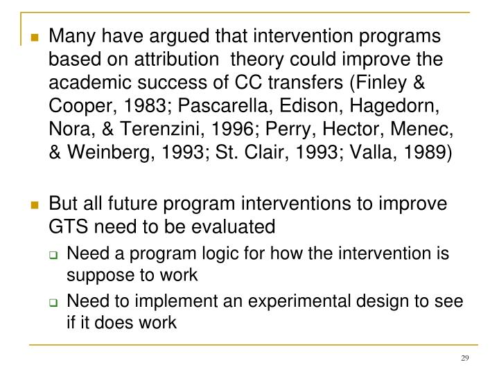 Many have argued that intervention programs based on attribution  theory could improve the academic success of CC transfers (Finley & Cooper, 1983; Pascarella, Edison, Hagedorn, Nora, & Terenzini, 1996; Perry, Hector, Menec, & Weinberg, 1993; St. Clair, 1993; Valla, 1989)
