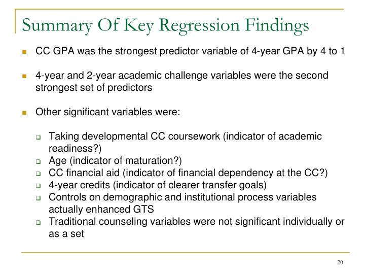 Summary Of Key Regression Findings