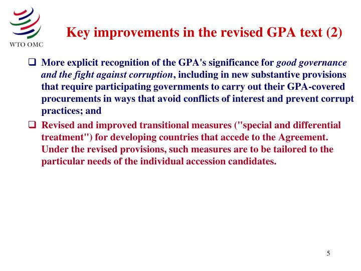 Key improvements in the revised GPA text (2)