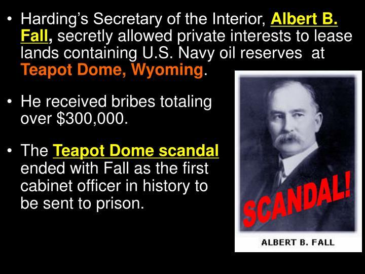 Harding's Secretary of the Interior,