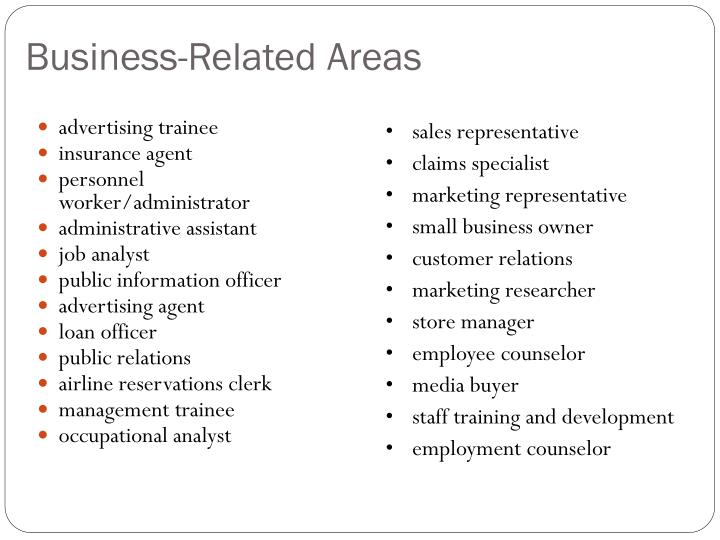 Business-Related Areas