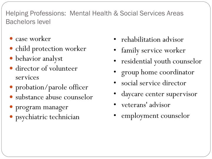Helping Professions:  Mental Health & Social Services Areas