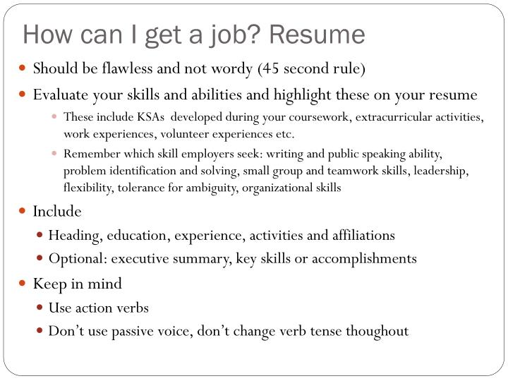How can I get a job? Resume