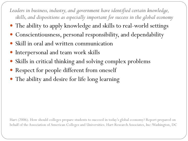 Leaders in business, industry, and government have identified certain knowledge, skills, and dispositions as especially important for success in the global economy