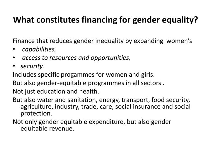 What constitutes financing for gender equality