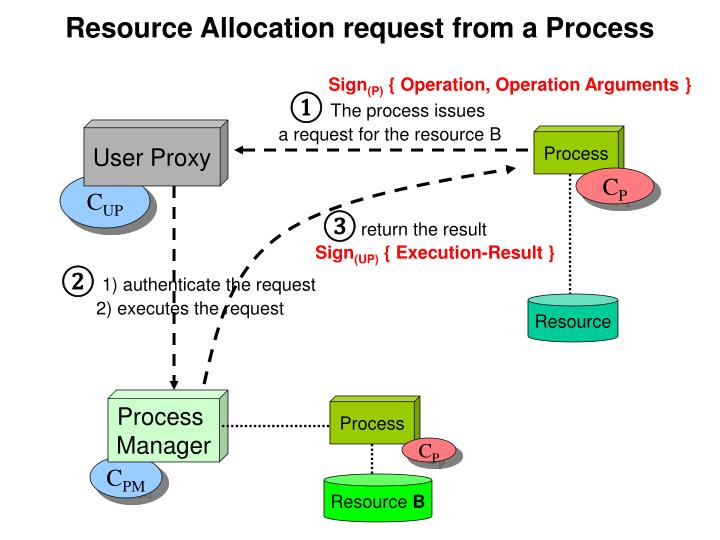 Resource Allocation request from a Process