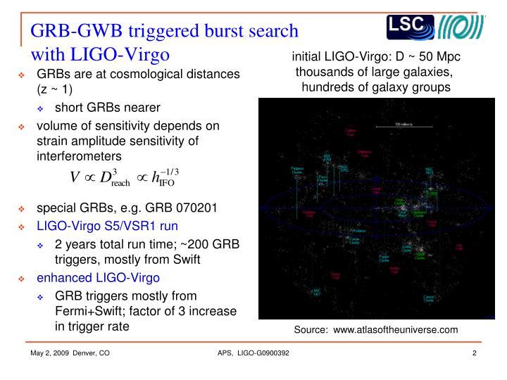 GRB-GWB triggered burst search