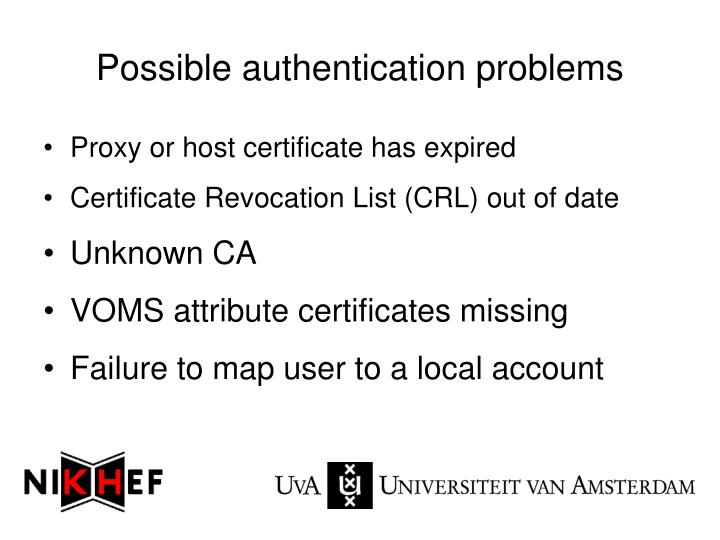 Possible authentication problems