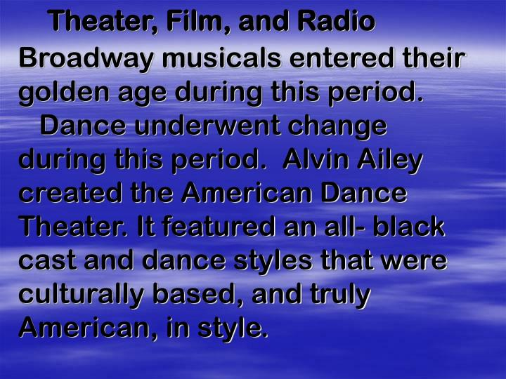 Theater, Film, and Radio
