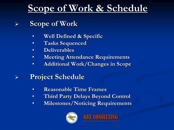 Scope of Work & Schedule