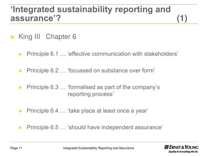 'Integrated sustainability reporting and assurance'? (1)