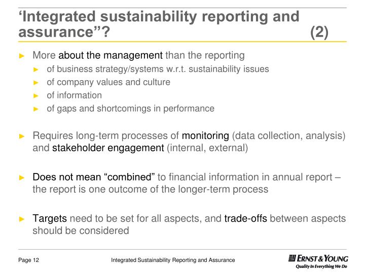 "'Integrated sustainability reporting and assurance""? (2)"