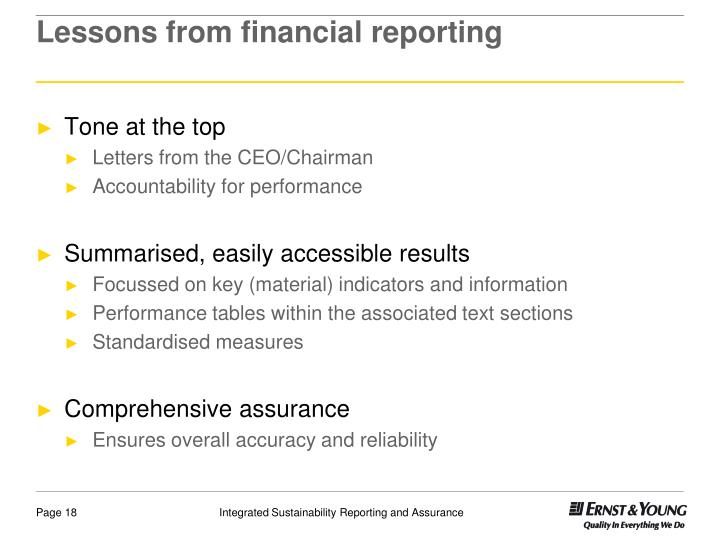 Lessons from financial reporting