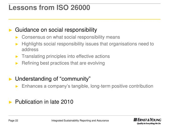 Lessons from ISO 26000