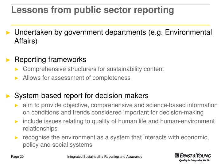 Lessons from public sector reporting