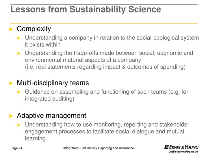 Lessons from Sustainability Science