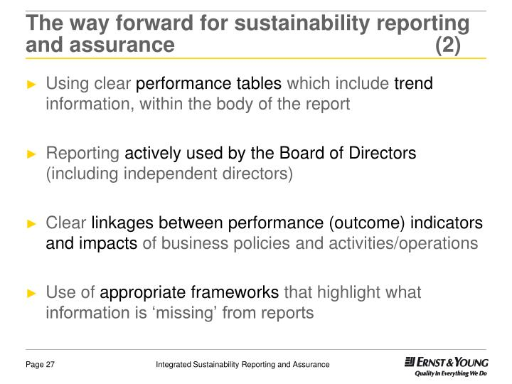 The way forward for sustainability reporting and assurance(2)