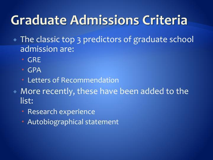 Graduate Admissions Criteria