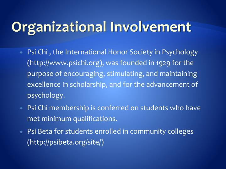 Organizational Involvement