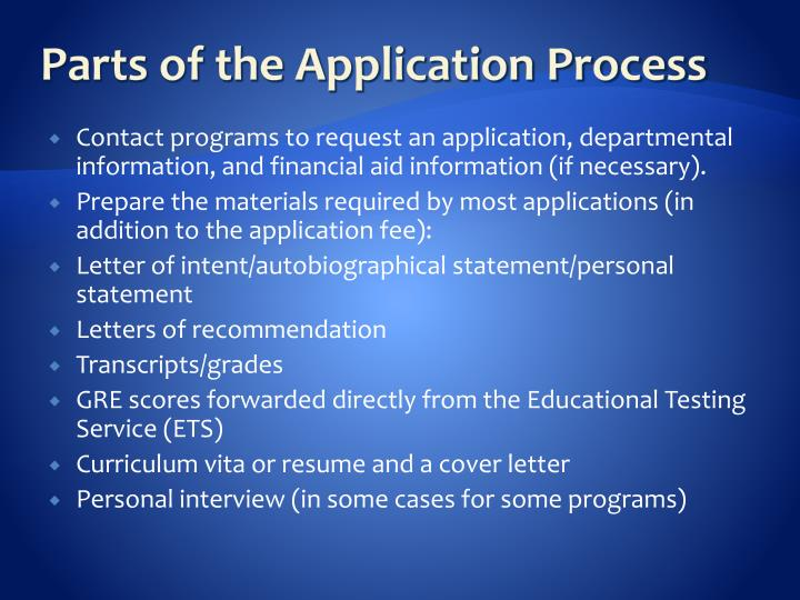 Parts of the Application Process