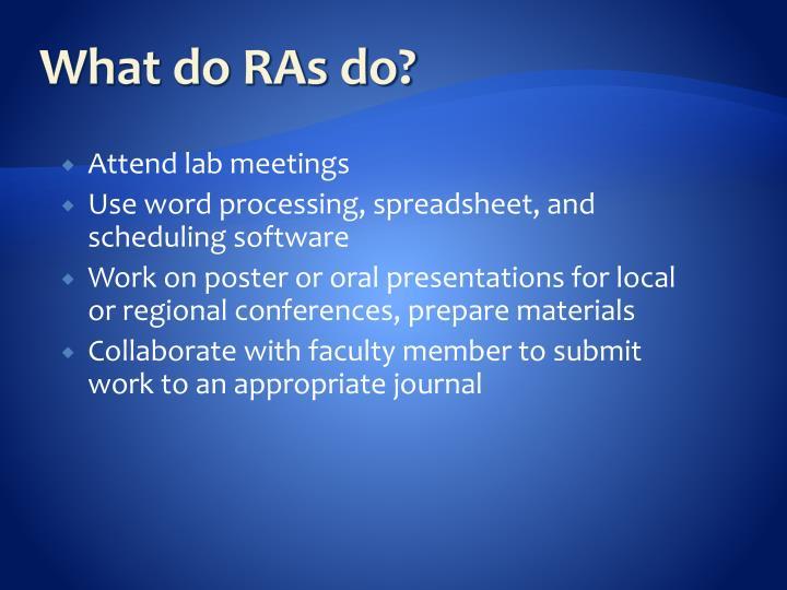 What do RAs do?