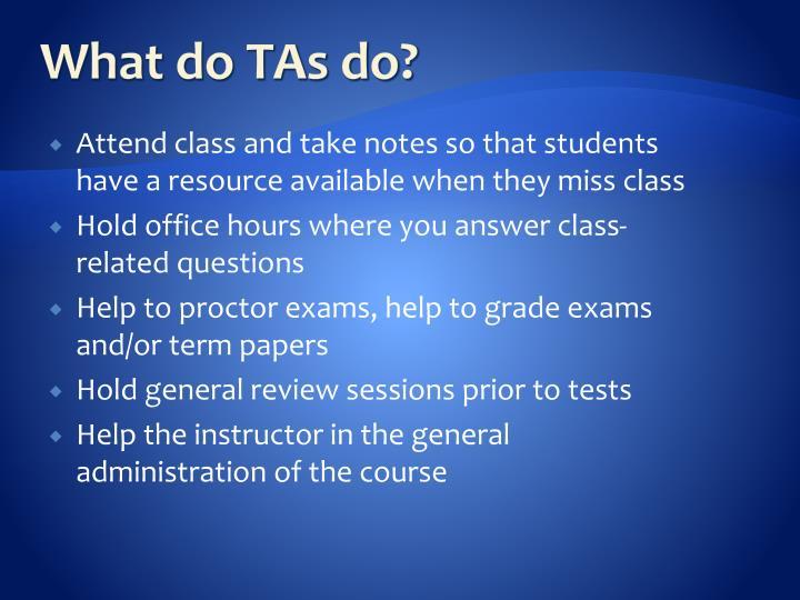 What do TAs do?