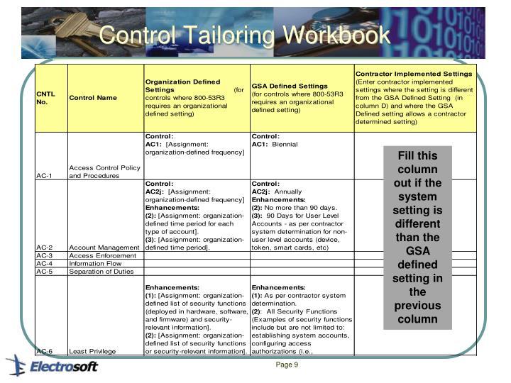 Control Tailoring Workbook