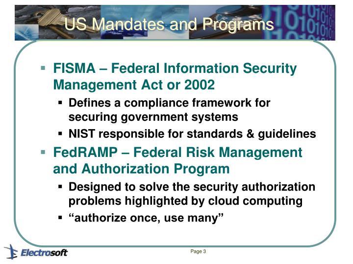 US Mandates and Programs