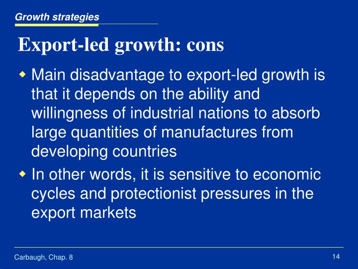 an export led growth strategy pakistan Export led growth has two components  singapore and hong kong, which successfully implemented export-led growth strategies in pakistan's case, .