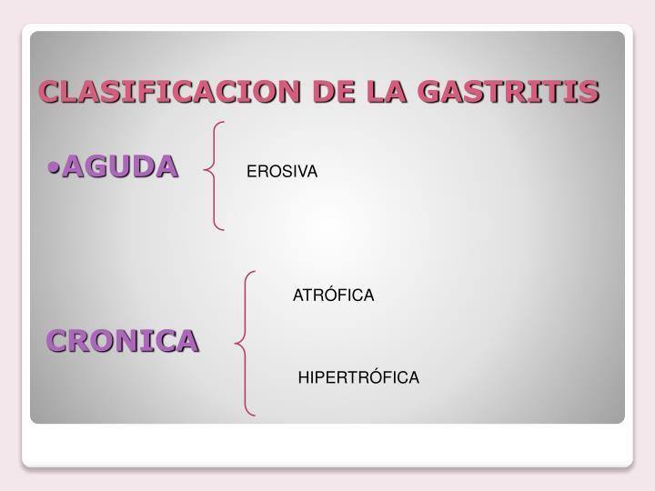 CLASIFICACION DE LA GASTRITIS