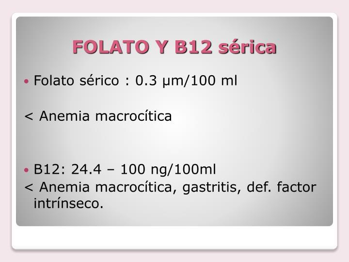 FOLATO Y B12 sérica
