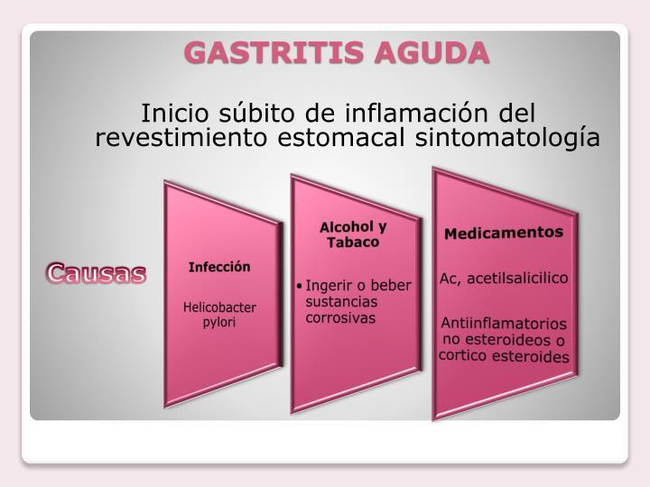Inicio súbito de inflamación del revestimiento estomacal sintomatología