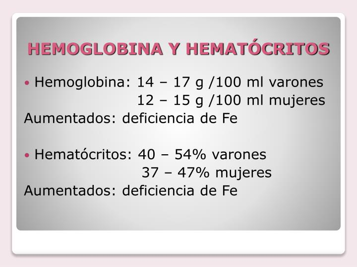 HEMOGLOBINA Y HEMATÓCRITOS
