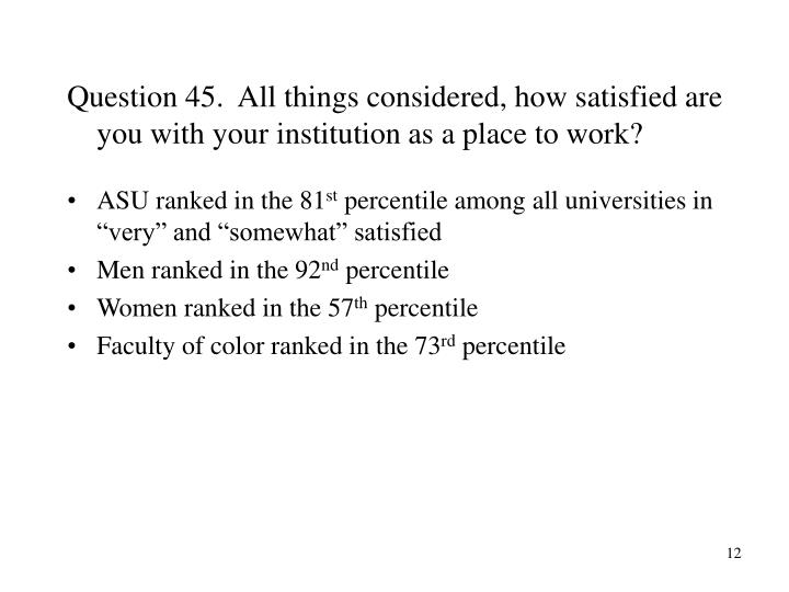 Question 45.  All things considered, how satisfied are you with your institution as a place to work?