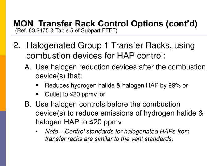 MON  Transfer Rack Control Options (cont'd)
