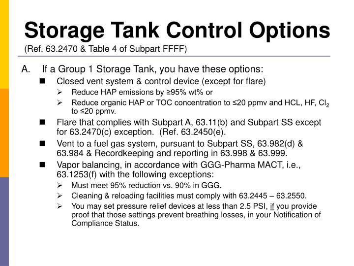 Storage Tank Control Options