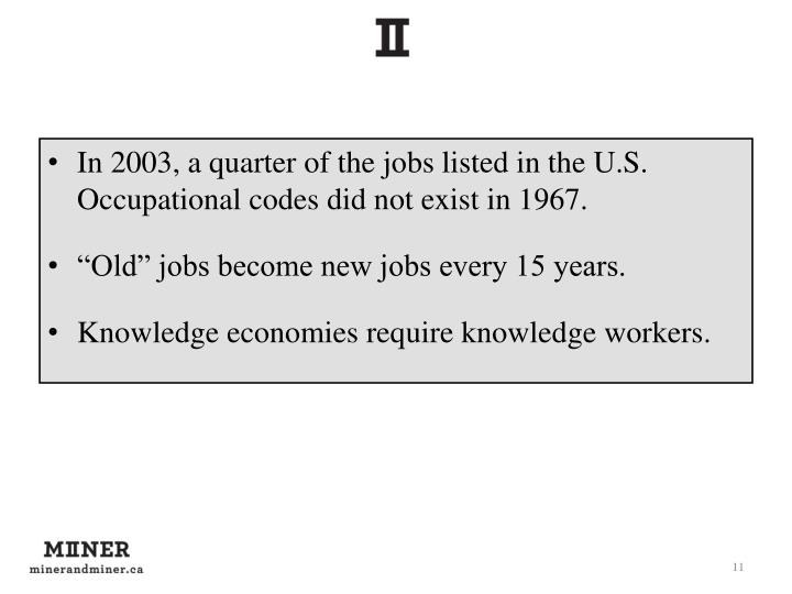 In 2003, a quarter of the jobs listed in the U.S. Occupational codes did not exist in 1967.