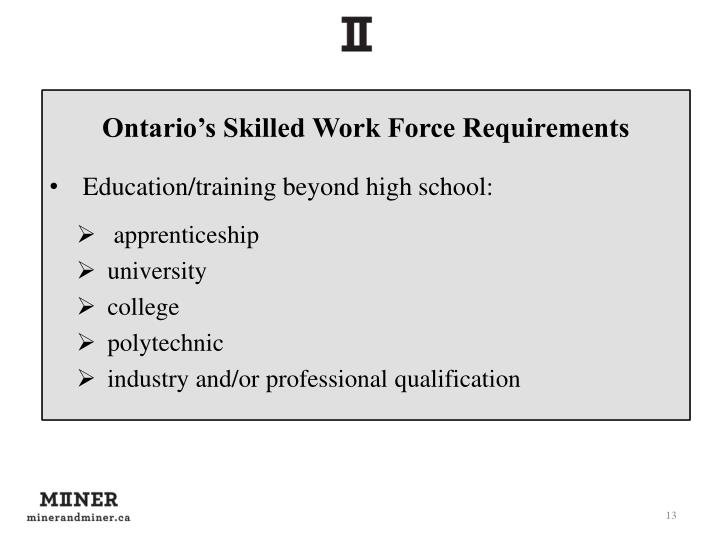 Ontario's Skilled Work Force Requirements