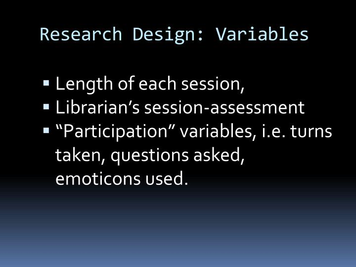 Research Design: Variables