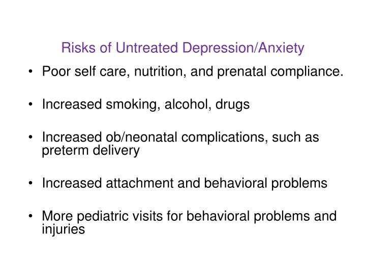 Risks of Untreated Depression/Anxiety