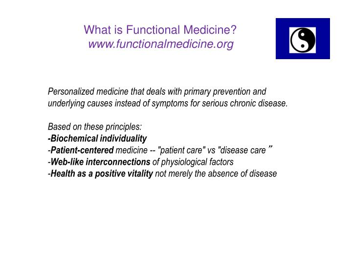 Personalized medicine that deals with primary prevention and underlying causes instead of symptoms for serious chronic disease.