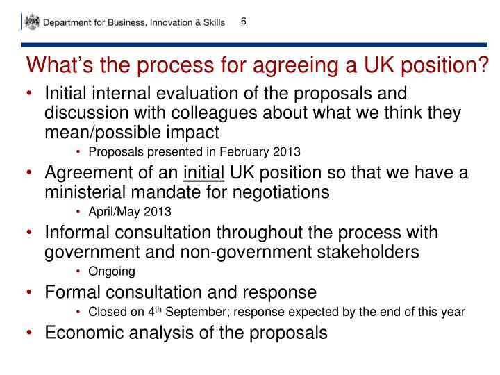 What's the process for agreeing a UK position?