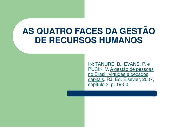 As quatro faces da gest o de recursos humanos