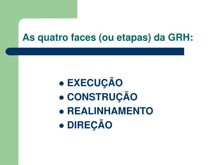 As quatro faces (ou etapas) da GRH: