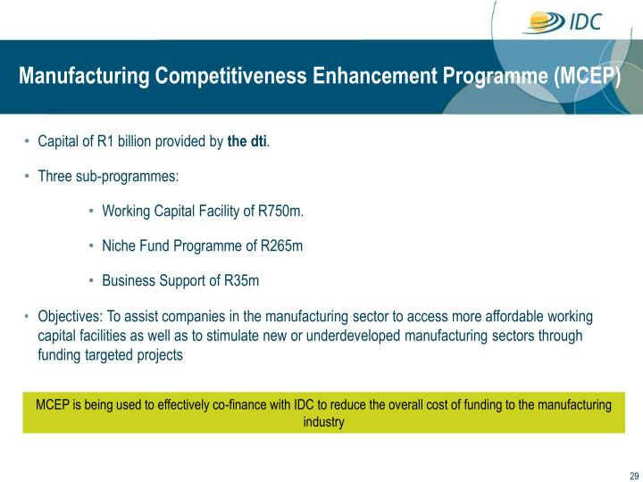 Manufacturing Competitiveness Enhancement Programme (MCEP)
